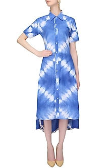 Indigo Tye And Dye High Low Cutout Shirt Dress by Ruchira Nangalia