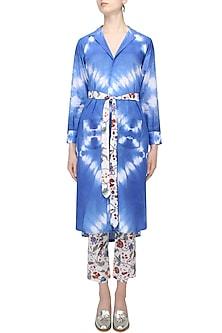 Indigo Tye And Dye Blazer Robe With Waistbelt by Ruchira Nangalia