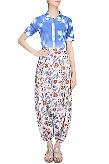 Indigo Tye And Dye Crop Shirt And Block Print Harem Pants Set by Ruchira Nangalia