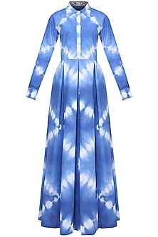 Indigo Tye And Dye Collared Maxi Dress