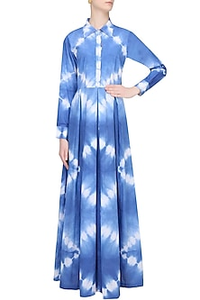 Indigo Tye And Dye Collared Maxi Dress by Ruchira Nangalia