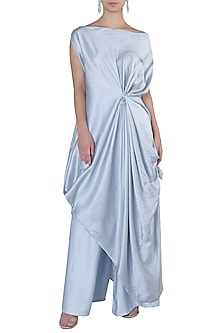 Grey Off Shoulder Draped Dress by Rimi Nayak