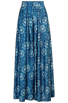 Blue Dandelion Printed Pleated Trousers