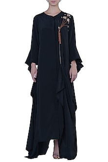 Black Draped Maxi Dress by Rimi Nayak