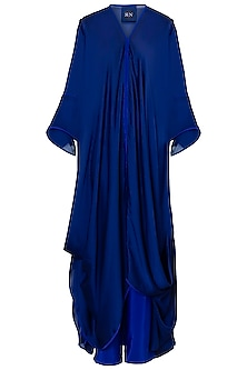 Blue Draped Long Tunic with Pants