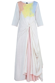 White Draped Tunic with Skirt by Rimi Nayak