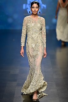 Pale Gold Beads and Sequins Embroidered Gown with Bodysuit