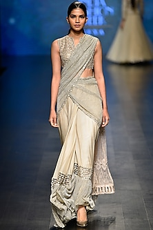 Pale Gold Crinkled Saree with Blouse Set
