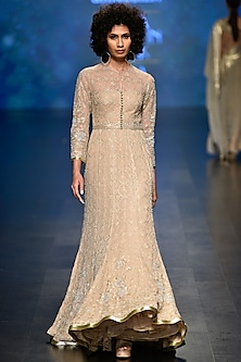 Pale Gold Sequins and Beads Embroidered Gown