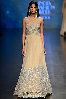 Gold Beads and Sequins Embroidered Gown