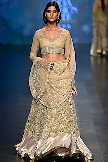 Gold Sequins and Beads Embellished Lehenga with Blouse Set