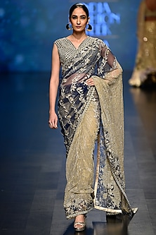 Gold and Deep Blue Crinkled Saree