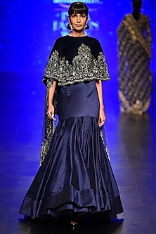 Blue Embroidered Asymmetric Cape and Yoke Skirt