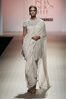 Sand Color Embroidered Saree with Cape, Blouse and Petticoat by Rabani & Rakha