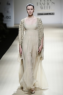Sand Color Embroidered Gown, Trouser and Jacket Set by Rabani & Rakha