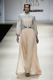 Honey Color and Silver Foil Embroidered Cape, Gown and Trouser Pants by Rabani & Rakha