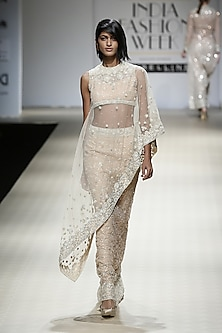 Honey Color Embroidered Cape, Mesh Skirt and Cape Set by Rabani & Rakha