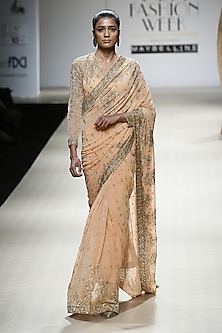 Apricot Color Beads Embroidered Saree and Blouse Set by Rabani & Rakha