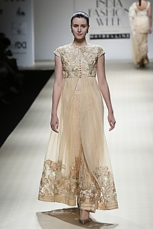 Honey Color Beads Embroidered Roughed Gown and Trouser Pants Set by Rabani & Rakha