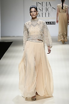 Honey Color Beads Embroidered Cape, Top and Pants Set by Rabani & Rakha