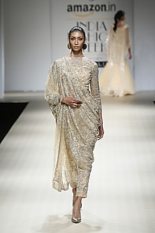 Honey Color Beads Embroidered Dape with Blouse and Trouser Pants by Rabani & Rakha