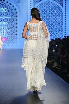 Ivory Embroidered Sharara Set by Rabani & Rakha