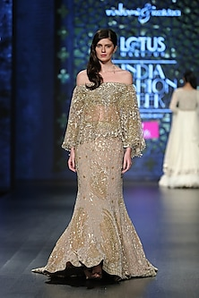 Gold Embroidered Gown With Jaal Trail by Rabani & Rakha