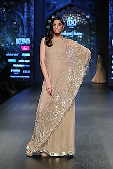 Gold Embroidered Cape Gown by Rabani & Rakha