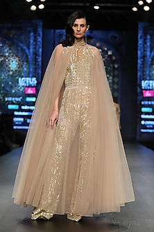 Gold Embroidered Jumpsuit With Cape by Rabani & Rakha