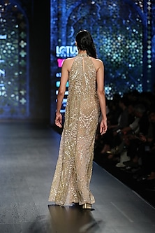 Gold Layered Gown by Rabani & Rakha