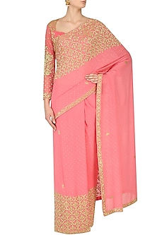 Rose Pink Floral Embroidered Saree Set by Rabani & Rakha
