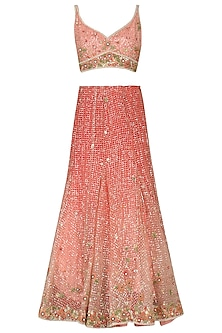 Pink Sequinned Floral Embroidered Lehenga Set