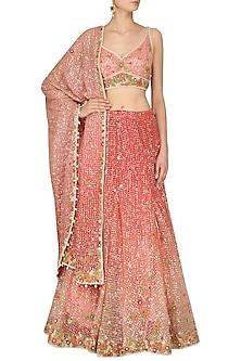 Pink Sequinned Floral Embroidered Lehenga Set by Rabani & Rakha