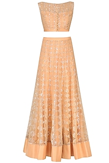 Peach Sequinned Crop Top and Skirt Set by Rabani & Rakha