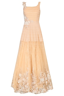 Peach Floral Embroidered Flared Gown