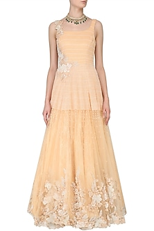 Peach Floral Embroidered Flared Gown by Rabani & Rakha