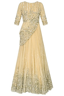 Honey Sequins and Beads Embroidered Gown by Rabani & Rakha