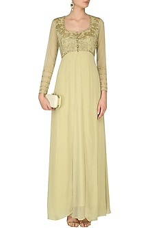 Beige Floral Embroidered Shimmer Gown by Rabani & Rakha