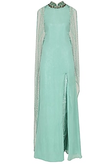 Green Embroidered High Slit Cape Gown and Laced Pants Set