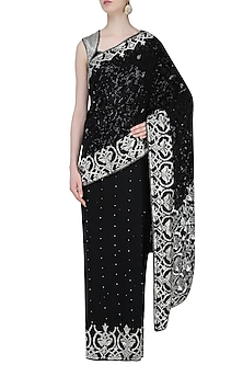 Black Embroidered Saree with Matching Blouse by Rabani & Rakha