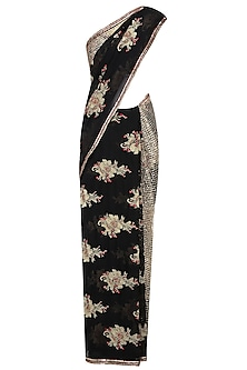 Black Floral Embroidered Mesh Saree with Sequinned Blouse