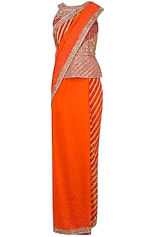 Orange Embroidered Saree with Peplum Blouse