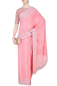 Rose Pink Floral Embroidered Saree with Blouse by Rabani & Rakha