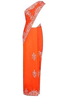 Orange Sequins Embellished Saree with Blouse