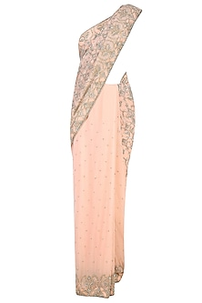 Peach Swarovski Embellished Saree with Blouse by Rabani & Rakha