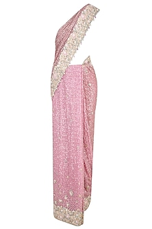 Pink Embroidered Saree with Silver Blouse by Rabani & Rakha