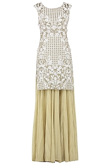 Ivory and Gold Embroidered Sharara Pants Set