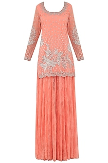 Peach Embroidered Lace Sharara Pants Set