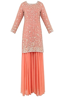 Peach Embroidered Sharara Pants Set