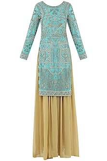 Turquoise and Beige Embroidered Sharara Pants Set